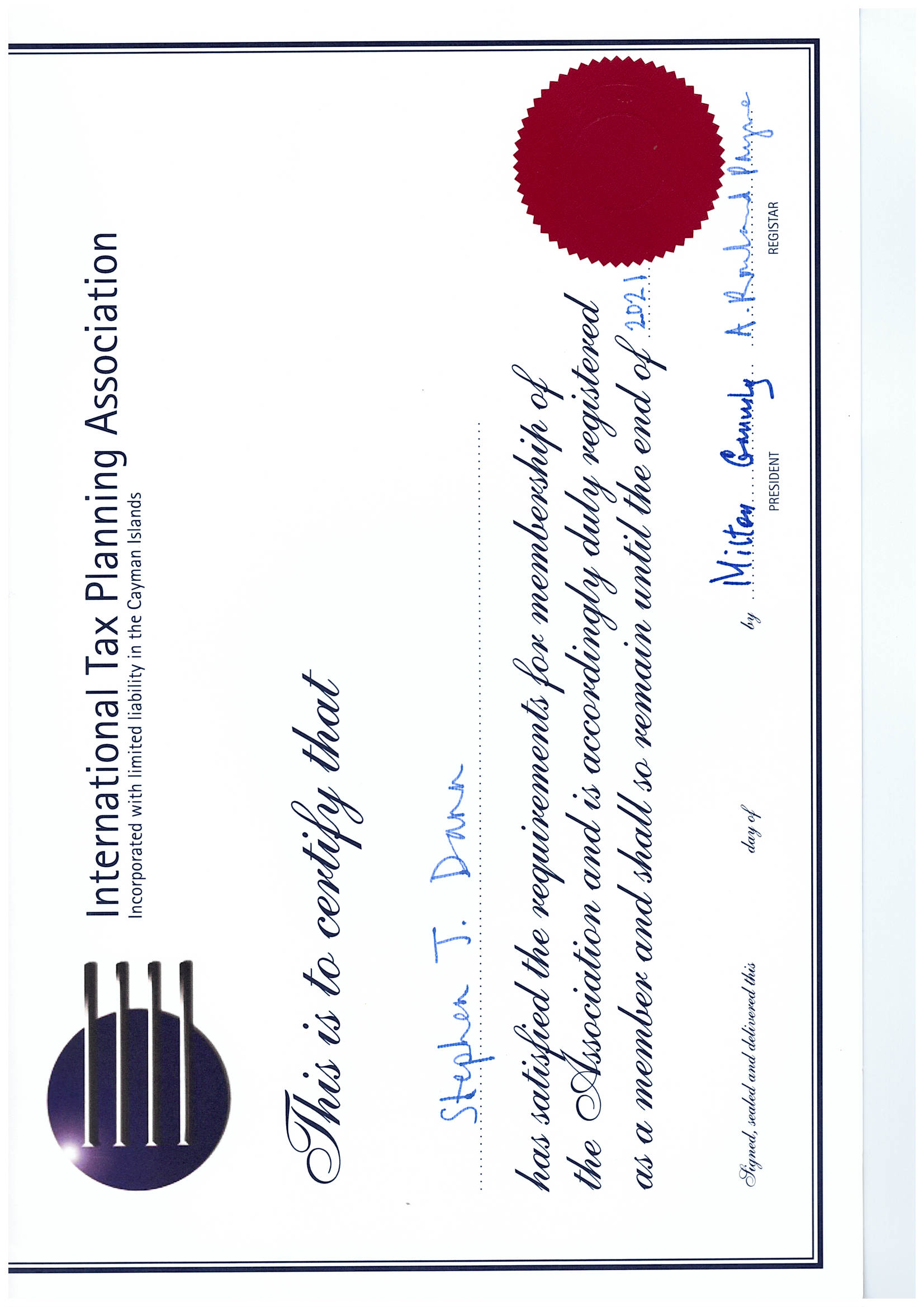Stephen Dann International Tax Planning Association Certificate